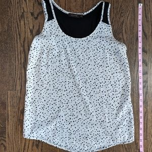 LIMITED, M, spotted sleevless blouse black/white